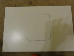 Cat Door in Window - Board Marked and Ready to Cut