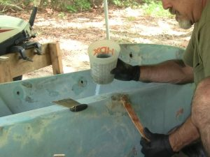 Pressing in Epoxy for Gelcoat Repair