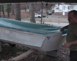 back of boat off trailer