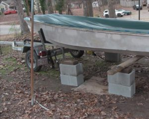 prepping boat for front blocks and support