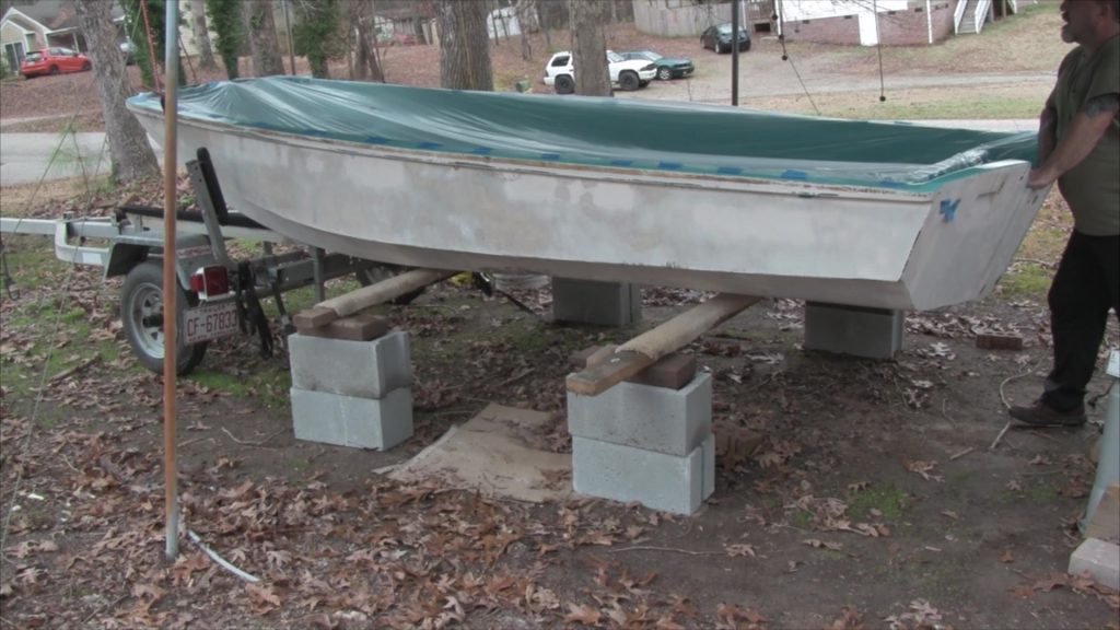 boston whaler resting on both stands