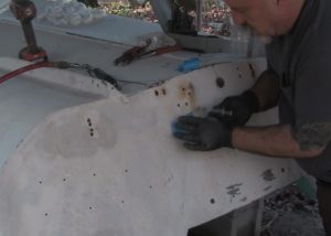 injecting epoxy sealing tape transom fiberglass repair