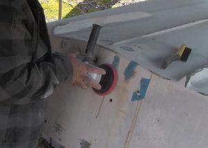 sanding depression in transom fiberglass repair
