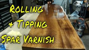 Spar Varnish on Mahogany Roll and Tip