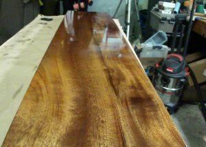finished spar varnish on mahogany