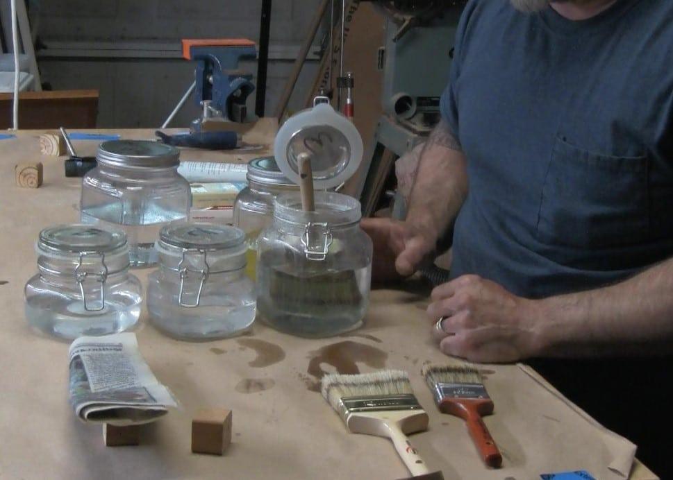brush in mineral spirits