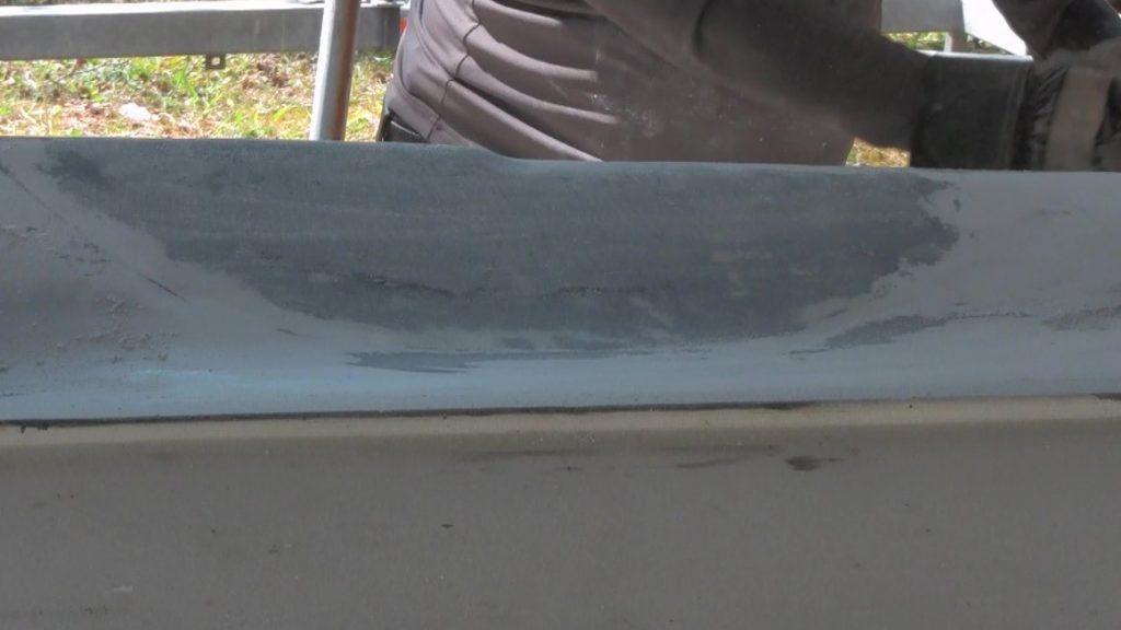 Hull Fiberglass Repair After Final Sanding
