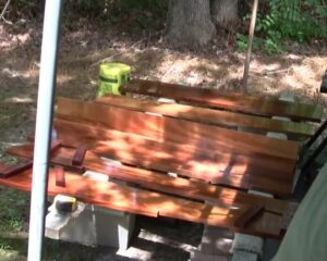 mahogany boston whaler interior parts laid out